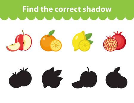 the children s: Children s educational game, find correct shadow silhouette. Fruit set the game to find the right shade. Vector illustration Illustration