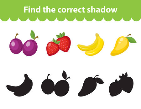 Children s educational game, find correct shadow silhouette. Fruit set the game to find the right shade. Vector illustration Illustration