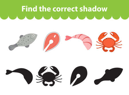 the children s: Children s educational game, find correct shadow silhouette. Seafood set the game to find the right shade. Vector illustration