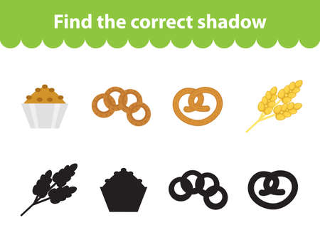 the children s: Children s educational game, find correct shadow silhouette. Baking set the game to find the right shade. Vector illustration