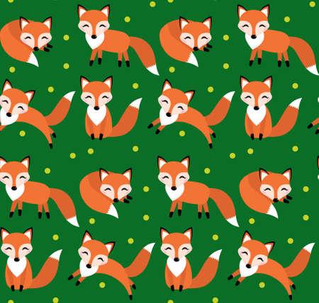the children s: Cute fox seamless pattern. Foxy endless background, texture. Children s backdrop. Vector illustration