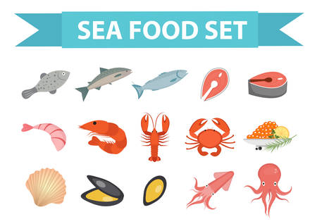 crab meat: Seafood icons set vector, flat style. Sea food collection isolated on white background. Fish products illustration, design element Illustration