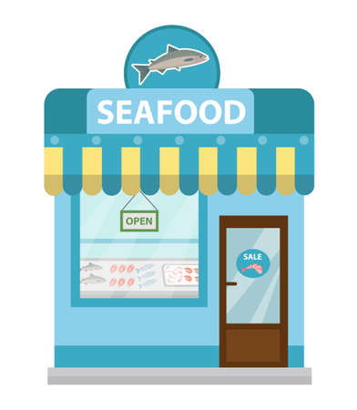 fish illustration: Seafood shop building, showcase vector icon flat style. Fish market isolated on white background. Sea products store Illustration