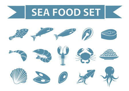 salmon fillet: Sea food icons set vector, silhouette, shadow style. Seafood collection isolated on white background. Fish products illustration, design element Illustration