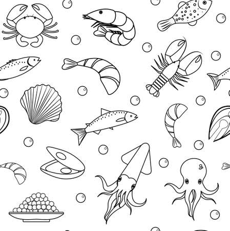 life style: Sea life seamless pattern. Seafood seamless pattern. Underwater endless background, texture. Hand drawing, sketch, line, doodle style. Vector illustration