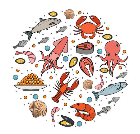 salmon fillet: Seafood icons set in round shape, line, sketch, doodle style. Sea food collection isolated on white background. Fish products, marine meal design element. Vector illustration