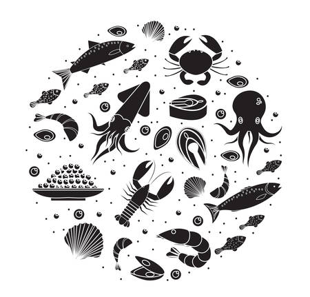 Seafood icons set in round shape, black silhouette. Sea food collection isolated on white background. Fish products, marine meal design element. Vector illustration Illustration