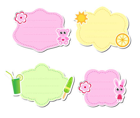 Cute kids frame for text, isolated on white background. Children s template. Baby frame. Vector illustration