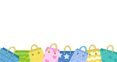Cute shopping bag banner. Colorful shopping bags with different design board. Paper bags with space for text. Gift package. Vector Illustration Illustration