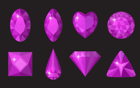 Purple gems set. Jewelry, crystals collection isolated on black background. Precious stones of different shapes, cut. Colorful purple gemstones. Realistic, cartoon style. Vector illustration, clip art
