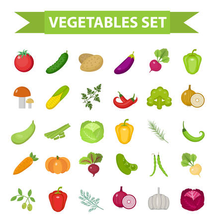 Vegetable icon set, flat, cartoon style. Fresh vegetables and herbs isolated on white background. Farm products, vegetarian food. Cabbage, beets, peppers, greens, potatoes tomato Vector illustration Illustration