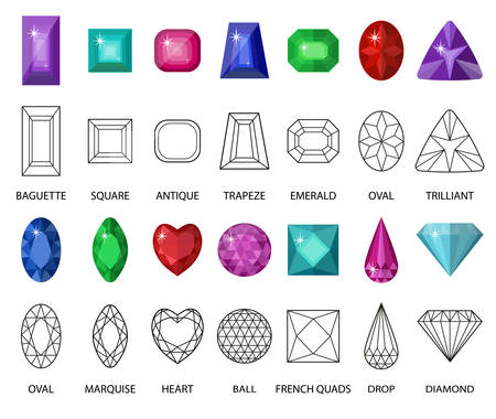 Gems and cut line set. Different facets for crystals. Jewelry collection isolated on white background. Diamonds cut. Realistic, cartoon style. Vector illustration, clip art