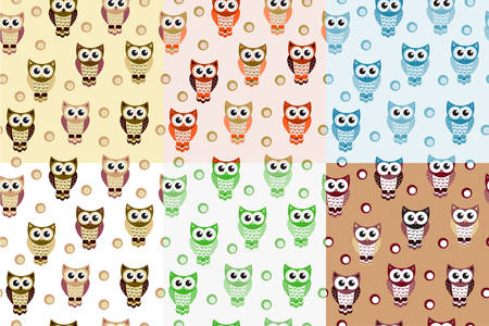 the children s: Kids seamless pattern with owls. Owl endless background, texture. Children s backdrop. Vector illustration