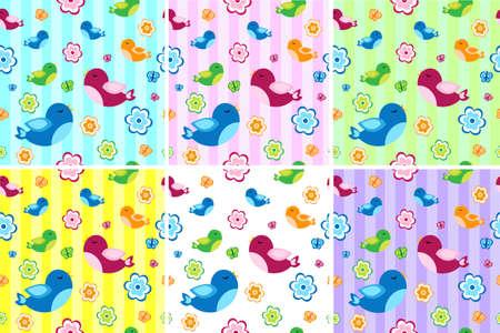 the children s: Kids seamless pattern with birds. Birdies endless background, texture. Children s background. Vector illustration