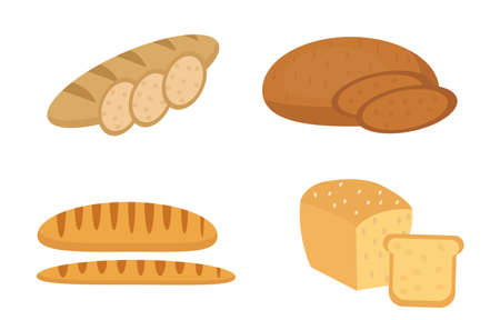 Bread, baguette, loaf set. Bakery products collection. Flat design, isolated on white background. Vector illustration, clip art Illustration