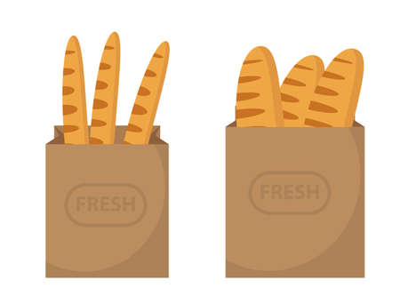 Bread in a paper bag. Loaf, Baguette in the papers package. Vector illustration, clip art