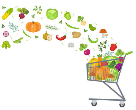 Full trolley, cart with fresh vegetables. Flat design. Set vegetables banner with space for text, isolated on white background. Healthy lifestyle, vegan, vegetarian diet, raw food. Vector illustration Illustration