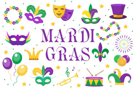 Mardi Gras carnival set  icons, design element , flat style. Collection Mardi Gras, mask with feathers, beads, joker, fleur de lis, comedy and tragedy, party decorations. Vector illustration, clip art