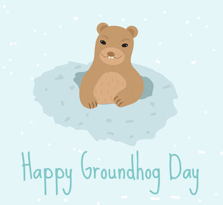 spring out: Happy Groundhog Day. Greeting card flat style. Celebration of spring. Cute, funny marmot comes out of the hole. Vector illustration