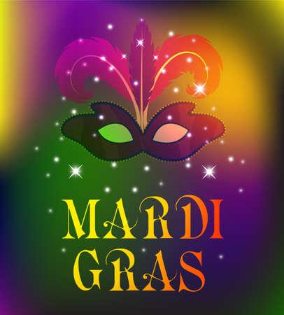 Mardi Gras mask, colorful poster, template, flyer. Vector illustration Vettoriali