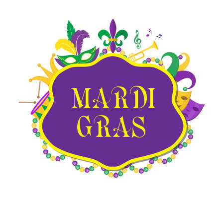 parade confetti: Mardi Gras poster with mask, beads, trumpet, drum, fleur de lis, jester hat, masks, comedy and drama. Mardi Gras Carnival template, flyer, invitation. Fat Tuesday background Vector illustration