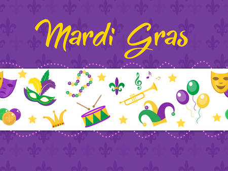 purim carnival party: Mardi Gras poster with mask, beads, trumpet, drum, fleur de lis, jester hat, masks, comedy and drama. Mardi Gras Carnival template, flyer, invitation. Fat Tuesday background Vector illustration