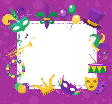 parade: Mardi Gras frame template with space for text. Mardi Gras Carnival poster, flyer, invitation. Party, parade background. Vector illustration