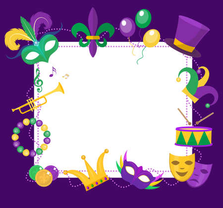 Mardi Gras frame template with space for text. Mardi Gras Carnival poster, flyer, invitation. Party, parade background. Vector illustration