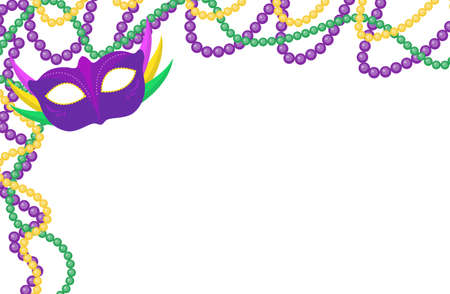 Mardi Gras beads colored frame with a mask, isolated on white background. Vector illustration