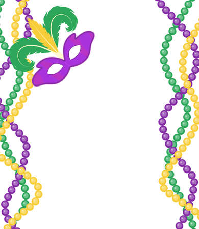Mardi Gras beads colored frame with a mask, isolated on white background. Mardi Gras template poster. Vector illustration