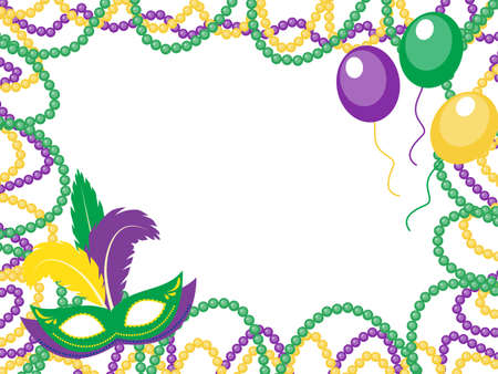 parade confetti: Mardi Gras beads colored frame with a mask and balloons, isolated on white background. Vector illustration Illustration