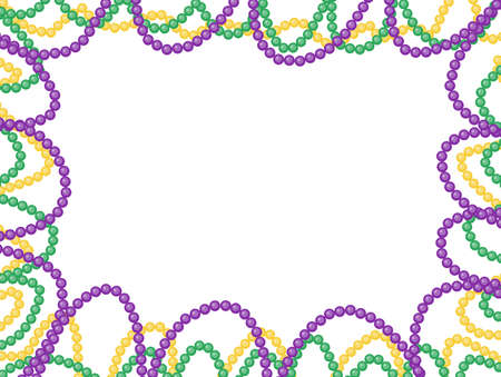 Mardi Gras beads frame, isolated on white background. Vector illustration