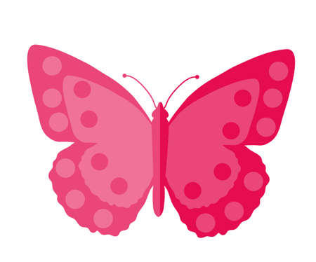 postal card: Pink Butterfly, flat design. Isolated on white background. Vector illustration, clip art
