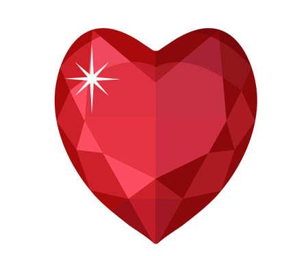 diamond shaped: Jewelry heart. Gemstones heart shaped. Colorful diamond. Vector illustration, clip art Illustration
