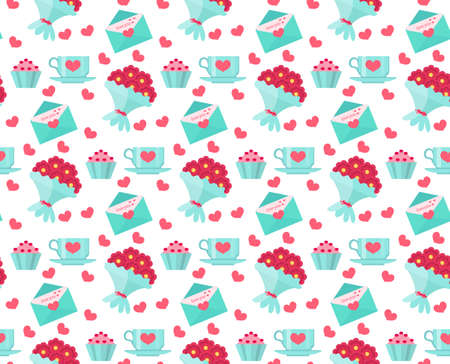 romance: Cute seamless pattern Valentines day with coffee and cake, heart, bunch of flowers, love letter. Love, romance endless background, texture, wallpaper. Flat, cartoon style. Vector illustration Illustration