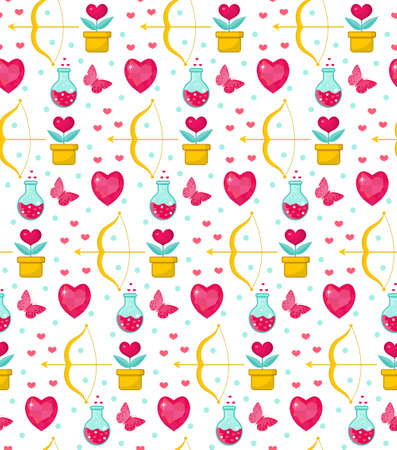 romance: Cute seamless pattern Valentines Day with flowers, bow cupid, love potion. Love, romance endless background, texture, wallpaper. Flat, cartoon style. Vector illustration Illustration