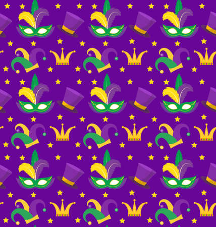 Mardi Gras Carnival seamless pattern with with mask feathers, crown, clown hat. Mardi Gras endless background, texture, wallpaper. Vector illustration  イラスト・ベクター素材