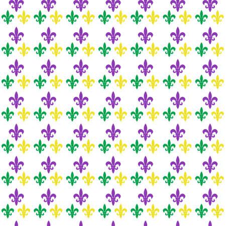 マルディグラのカーニバル アヤメとシームレスなパターン。マルディグラの無限背景、テクスチャ、壁紙。ベクトル図