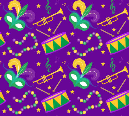 Mardi Gras Carnival seamless pattern with mask feathers, beads. Mardi Gras endless background, texture, wallpaper. Vector illustration Ilustrace