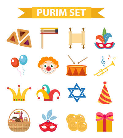 Happy Purim carnival set of design elements, icons. Purim Jewish holiday, isolated on white background. Vector illustration clip-art Vettoriali