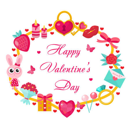 Valentines day template for cards, posters, flyers. Love, romantic frame for text. Vector illustration
