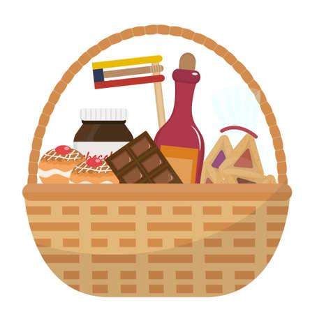 음식과 함께 Mishloach 매너 바구니를 취급합니다. Purim 휴일 선물. 유태인 카니발 선물. 벡터 일러스트 레이 션