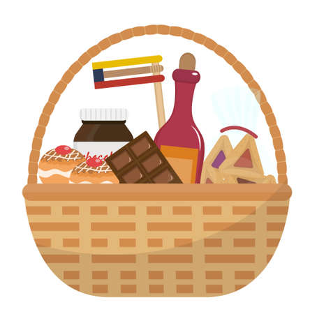 Mishloach manot basket with food treats. Purim holiday gift. Jewish carnival present. Vector illustration