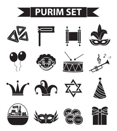 Happy Purim carnival icons set, black silhouette style. Purim Jewish holiday collection signs, symbols, isolated on white background. Vector illustration clip-art Vettoriali