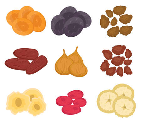 dates fruit: Dried fruits set, flat style. Raisins, dried apricots, prunes isolated on a white background. Vector illustration, clip art