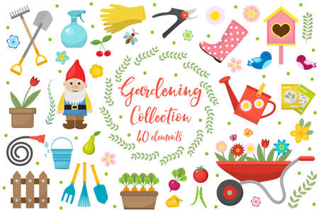 wellies: Gardening icons set, design elements. Garden tools and decor collection, isolated on a white background. Vector illustration
