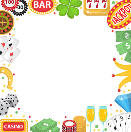 wheel of fortune: Casino frame with space for text. Gambling isolated on a white background. Poker, card games, one-armed bandit, roulette. Vector illustration, clip art