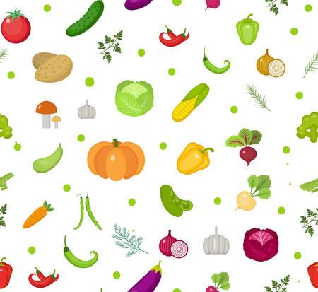 Patrón sin fisuras de verduras. Ensalada de fondo sin fin. Estilo de vida saludable, vegano, dieta vegetariana, alimentos crudos. Ilustración vectorial Vectores