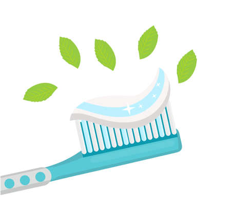 Toothbrush with mint paste. Isolated on white background. Vector illustration Stock Photo