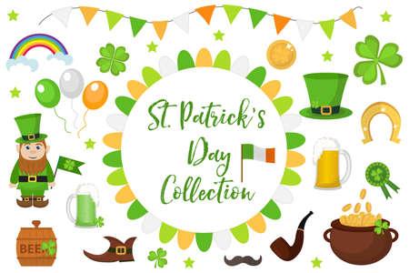 St. Patricks Day icon set design element. Traditional irish symbols in modern flat style. Isolated on white background. Vector illustration, clip art Stock Photo